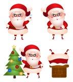 Uppsättning av xmas-illustrationer av det Santa Claus teckenet Arkivbild