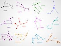 Uppsättning av zodiakkonstellationer Horoskopuppsättning royaltyfri illustrationer