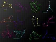 Uppsättning av zodiakkonstellationer Horoskopuppsättning: Vädur Lejonet, Sagitarius, Stenbocken, Oxen, Jungfru, Våg, Vattumannen, vektor illustrationer
