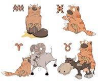 Uppsättning av zodiaksymboler med katter Isolerat på vit cartoon Arkivbild