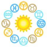Uppsättning av zodiaktecken som lokaliseras runt om solen Royaltyfri Bild