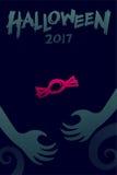 Uppsättning 2017 bakgrundsmall, gigantisk hand för allhelgonaaftonför jäkel stock illustrationer