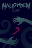 Uppsättning 2017 bakgrundsmall, gigantisk hand för allhelgonaaftonför jäkel royaltyfri illustrationer