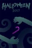 Uppsättning 2017 bakgrundsmall, gigantisk hand för allhelgonaaftonför varulvar royaltyfri illustrationer