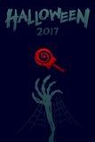 Uppsättning 2017 bakgrundsmall, skelett- gigantisk hand för allhelgonaafton vektor illustrationer