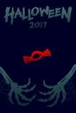 Uppsättning 2017 bakgrundsmall, skelett- gigantisk hand för allhelgonaafton royaltyfri illustrationer