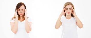 Uppsättning collage som lider kvinnor som isoleras på vit bakgrund, kvinnas huvudvärk, kvinnlig migrän Modern medicin, hjälper fo fotografering för bildbyråer