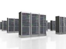 uppsättning 3d av dataserveror i datacenter Fotografering för Bildbyråer