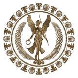 uppsättning 3d av en forntida guld- prydnad på en vit bakgrund Royaltyfria Bilder