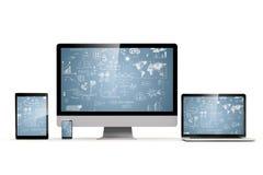 uppsättning 3d av PC:n, bärbara datorn, minnestavlan och telefonen Fotografering för Bildbyråer