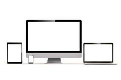 uppsättning 3d av PC:n, bärbara datorn, minnestavlan och telefonen Royaltyfri Bild