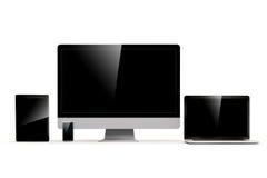 uppsättning 3d av PC:n, bärbara datorn, minnestavlan och telefonen Stock Illustrationer