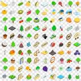 uppsättning för 100 åkerbruk symboler, isometrisk stil 3d Royaltyfri Bild