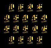 Uppsättning för årsdagvektornummer Samling för födelsedagberömlogo Guld- år tecken på svart bakgrund jubilee royaltyfri illustrationer