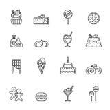 Uppsättning för ökenvektorsymbol Muffin, sötsaker och andra stekheta foods Översiktsillustrationisolat på vit bakgrund stock illustrationer