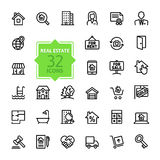 Uppsättning för översiktsrengöringsduksymbol - Real Estate vektor illustrationer
