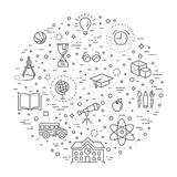 Uppsättning för översiktsrengöringsduksymbol - skolutbildning stock illustrationer