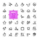 Uppsättning för översiktsrengöringsduksymbol - Spa & skönhet stock illustrationer