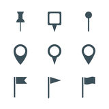 Uppsättning för översiktsstiftsymbol Royaltyfri Fotografi