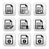 Uppsättning för affärs- eller arbetskontraktskrivningknappar Arkivbilder