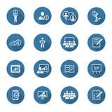 Uppsättning för affärscoachningsymbol lära online Plan design Royaltyfri Bild