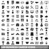 uppsättning för 100 affärskarriärsymboler, enkel stil stock illustrationer