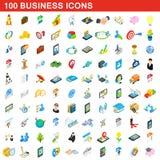 uppsättning för 100 affärssymboler, isometrisk stil 3d Royaltyfri Bild