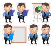 Uppsättning för affärsteckenvektor med den yrkesmässiga affärsmannen royaltyfri illustrationer