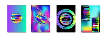 Uppsättning för affisch för effekt för tekniskt fel för vektorneon färgrik Modern tvdistorsionseffekt Geometrisk bakgrundseffekt  Royaltyfria Bilder