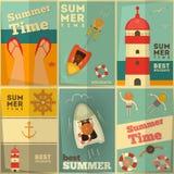 Uppsättning för affischer för sommarferier Fotografering för Bildbyråer