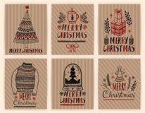 Uppsättning för affischer för julgåvakort Papper för hantverk för typografigarneringferie Mall för att hälsa Scrapbooking, lyckön vektor illustrationer