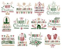 Uppsättning för affischer för julgåvakort Typografigarneringferie Mall för att hälsa Scrapbooking, lyckönskan, inbjudningar, vektor illustrationer