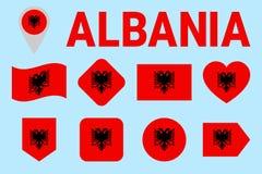 Uppsättning för Albanien flaggavektor Olikt geometriskt formar Plan stil Albansk flaggasamling För sportar medborgare, lopp, geog vektor illustrationer