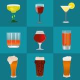 Uppsättning för alkohol- och ölvektorsymboler Royaltyfri Fotografi