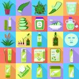 Uppsättning för aloevera symboler, lägenhetstil vektor illustrationer
