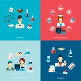 Uppsättning för apotekaresymbolslägenhet stock illustrationer
