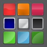 Uppsättning för App-symbolsbakgrund. Glansiga rengöringsdukknappsymboler. stock illustrationer