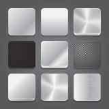 Uppsättning för App-symbolsbakgrund. Metal knäppas symboler. Royaltyfri Bild