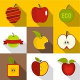 Uppsättning för Apple etikettsymboler, lägenhetstil Arkivfoton