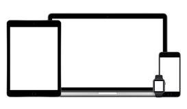 Uppsättning för Apple mång- apparatmodell arkivbild