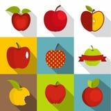 Uppsättning för Apple teckensymboler, lägenhetstil Royaltyfria Foton