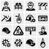 Uppsättning för arbetarvektorsymboler på grå färger. Royaltyfria Foton
