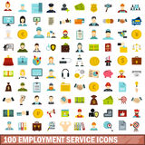 uppsättning för 100 arbetsförmedlingsymboler, lägenhetstil vektor illustrationer