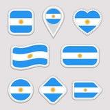 Uppsättning för Argentina flaggavektor Argentinska emblem för nationella symboler Flaggaklistermärkesamling Isolerade geometriska vektor illustrationer