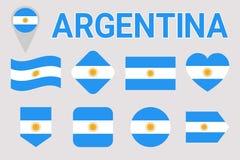 Uppsättning för Argentina flaggavektor geometriska former Plan stil Argentinsk natioanlsymbolsamling Rengöringsduk sportsidor stock illustrationer