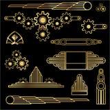 Uppsättning för Art Deco mallguld--svart DIY beståndsdelar vektor illustrationer
