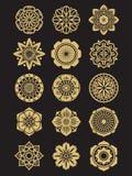 Uppsättning för asiatblommasymboler som isoleras på svart bakgrund Kines eller japanska dekorativa beståndsdelar Arkivbilder