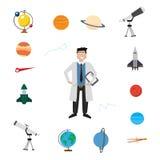 Uppsättning för astronomivektorsymbol stock illustrationer
