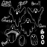 Uppsättning för attraktion för viskningspökehand Ondska för spöketeckendräkt vektor illustrationer