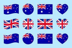 Uppsättning för Australien Storbritannien, Nya Zeeland flaggavektor Lägenhet isolerade symboler Australier brittiska nya Zealands stock illustrationer